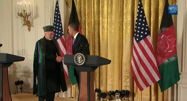 President Obama Shakes Hands With Afghan President Karzai January 2013
