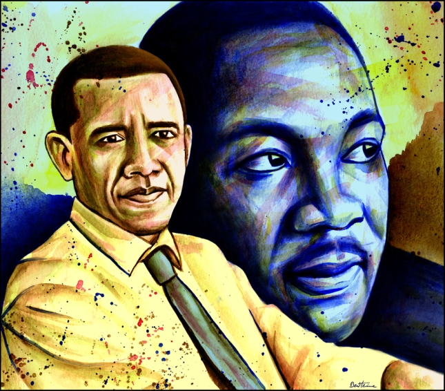 Obama Martin Luthor King MLK Day Painting By Ben Heine