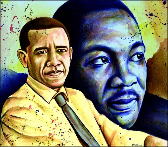 Obama Martin Luthor King MLK Day Painting By Ben Heine