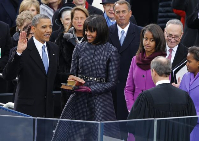 Obama Oath Second Term Signing In Bibles Lincoln Martin Luthor King Jr MLK With Michelle, Malia, Sasha, Chief Justice John Roberts Speaker of the House John Boehner
