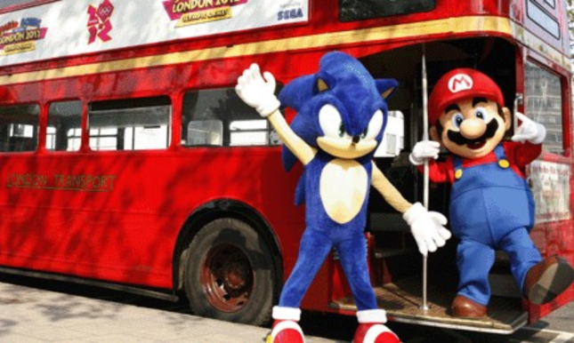 Real Life Mario And Sonic At the London Olympic Games Party Bus