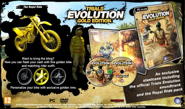 Trials Evolution Gold Edition PC Soundtrack CD Gold Bike Royal Rider Artwork
