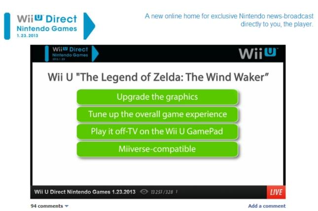 Zelda: Wind Waker HD Remake Features Screenshot Nintendo Direct