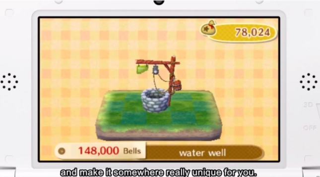 Animal Crossing: New Life Town Customization Water Well Screenshot (3DS)