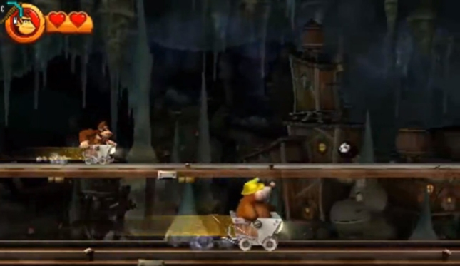 Donkey Kong Country Returns 3DS Mine Cart Screenshot