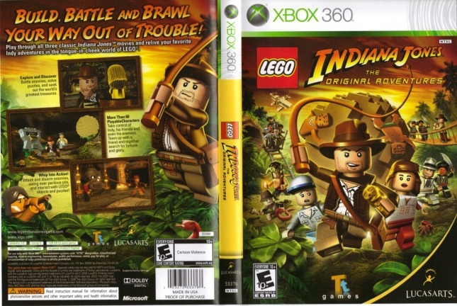 Lego Indiana Jones: Original Adventures Cover Artwork Back of Box and Front Xbox 360