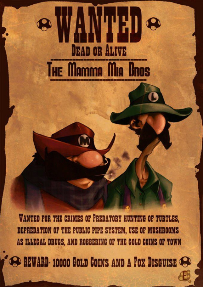 Mario Bros. Luigi Wanted Dead or Alive Mamma Mia Bros. Artwork