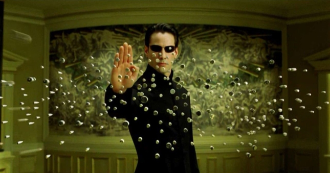 Neo Stops Bullets Wallpaper The Matrix Reloaded