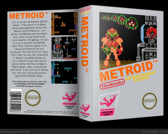 Metroid NES Front and Back Amazing Fake Boxart by Vengeance at VGboxart dot com