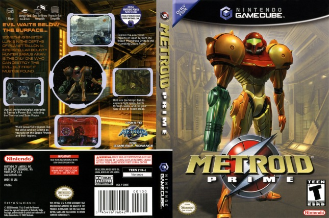 Metroid Prime GameCube Cover And Back of Box Artwork USA