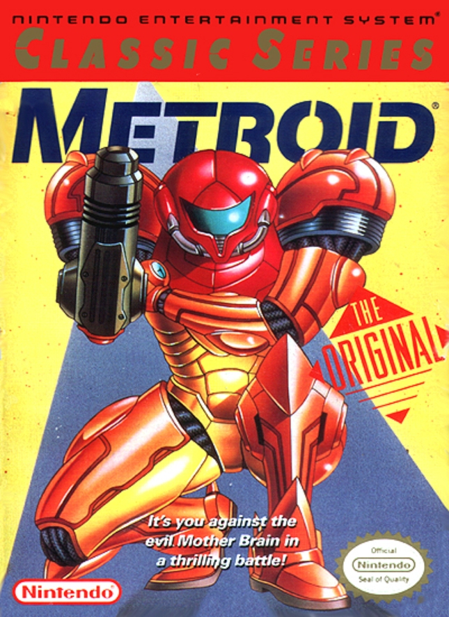 Metroid Yellow NES Alternate 1992 Box Cover Artwork