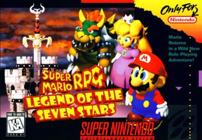 Super Mario RPG Front Cover of Box Artwork SNES