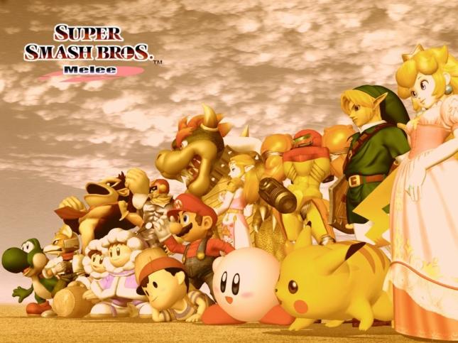 Super Smash Bros. Melee Original Starting Character Cast Wallpaper No Unlockables