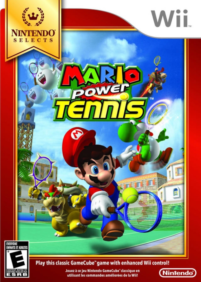 Wii Mario Power Tennis New Play Control Front Cover of Box Artwork USA Nintendo Selects