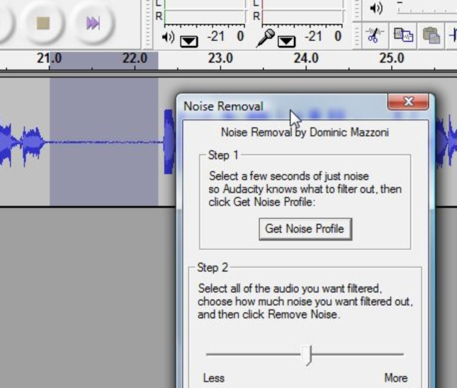 Audacity Removing Background Noise And Noise Profile Setup Screenshot