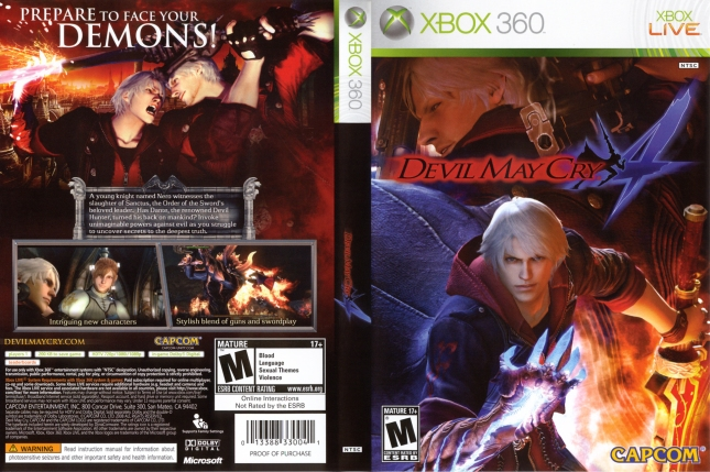 Devil May Cry 4 Cover Artwork Xbox 360 USA Box