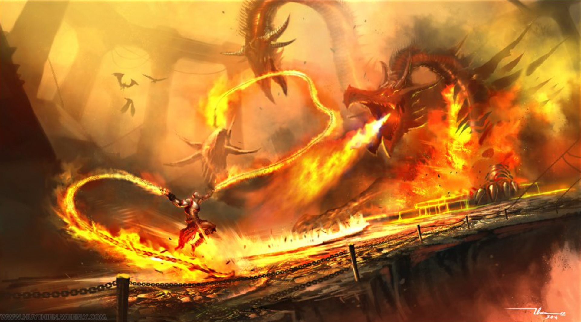 Epic God Of War Dragon Wallpaper By Thiennh2