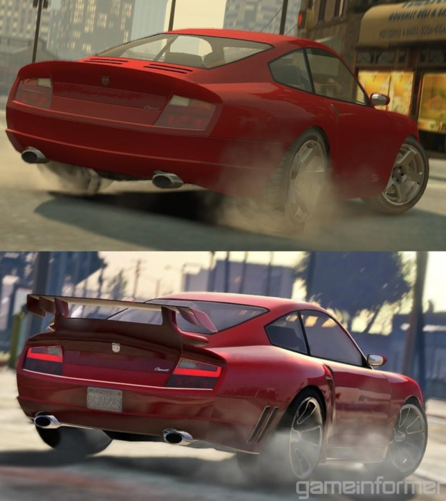 GTA IV Compared To GTA V Red Car Screenshot