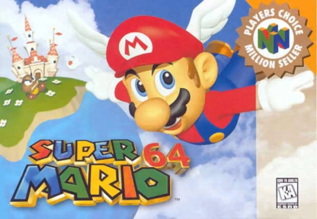 N64 Super Mario 64 Front Cover of Box Artwork Players Choice USA