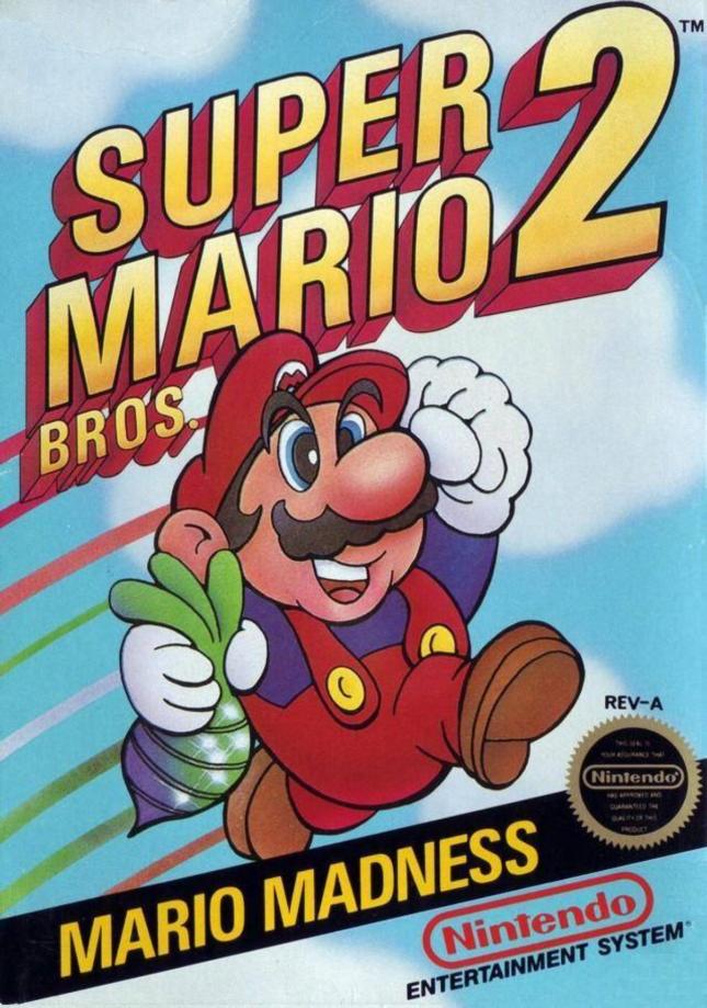 NES Super Mario Bros. 2 Front Cover of Box Artwork