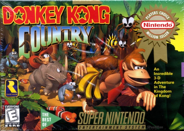SNES Donkey Kong Country Cover Box Art Super Nintendo Greatest Hits Version