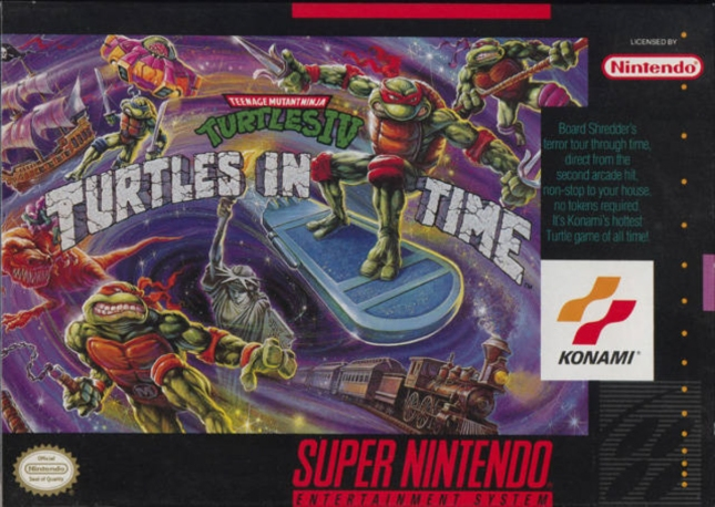 SNES Turtles In Time Cover Box Artwork