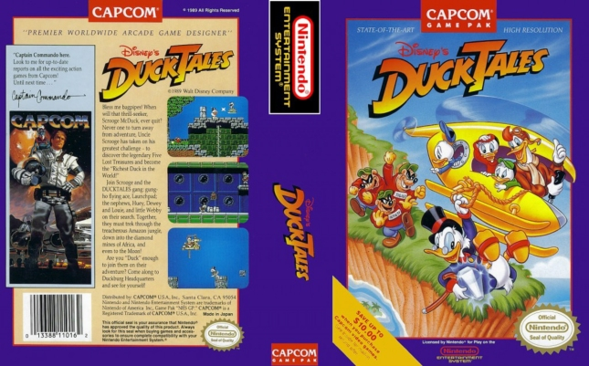 DuckTales NES Cover Front and Back Box Artwork