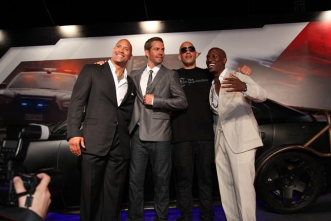 Fast 6 Vin Diesal, Dwayne the Rock Johnson, Paul Walker, Tyrese Gibson Cast Photoshoot