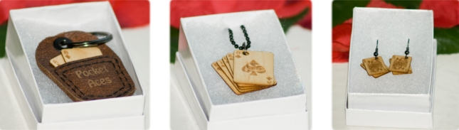 Hardwood Playing Cards Accessories Earrings Necklace Pocket Pouch Bibelot Games Kickstarter