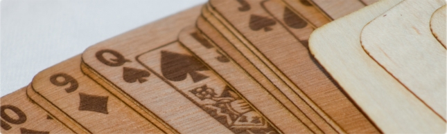 Hardwood Playing Cards Close-Up Spread Bibelot Games Kickstarter