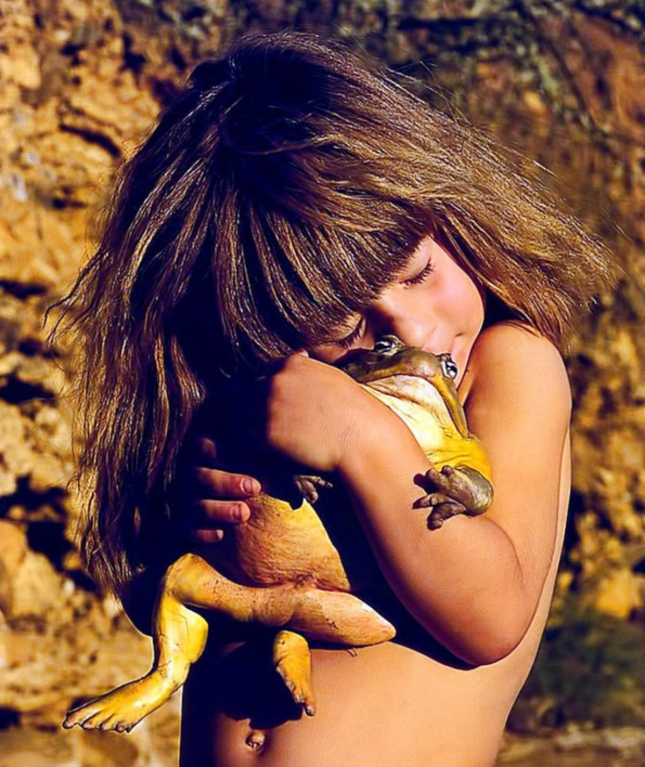 Frog Hugging Little Girl Trippi Africa