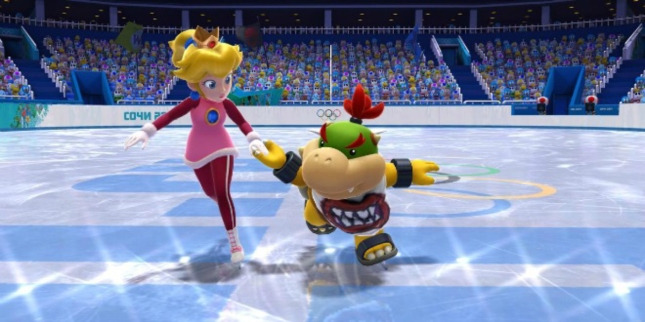 Mario & Sonic 4 WiiU Screenshot Peach Bowser Jr In Love Couple Figure Skating