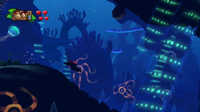 Donkey Kong Country: Tropical Freeze Underwater Effects Screenshot