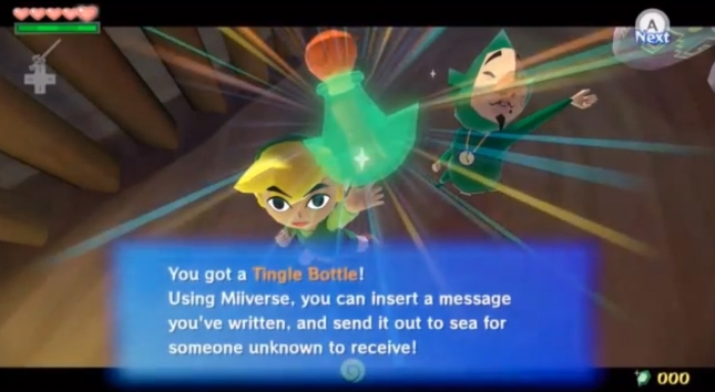 Wind Waker HD Tingle Message In A Bottle Miiverse Screenshot (Tingle Bottle Item)
