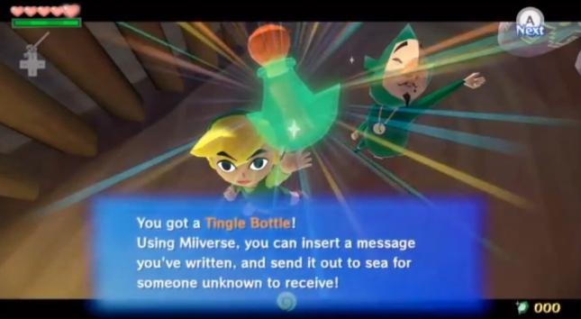 Wind Waker HD Tingle Message In A Bottle Miiverse Screenshot (Tingle Bottle Item)